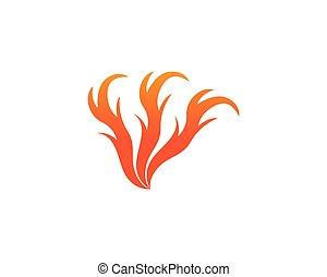 icônes, brûler, symboles, chaud, gabarit, logo