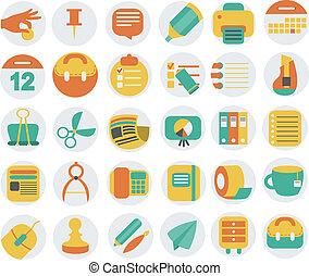 icônes, bureau affaires, ensemble, plat