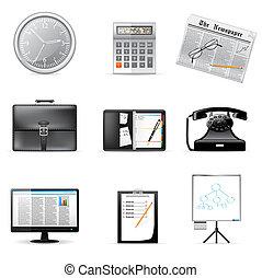 icônes, bureau affaires
