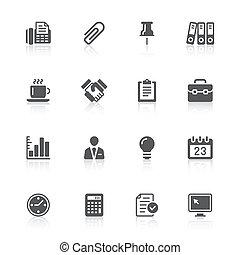 icônes bureau, &, business