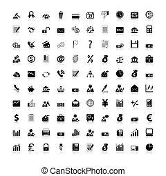icônes, business, finance, bureau, &