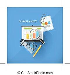 icônes, business, recherche