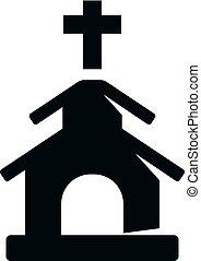 icônes, bw, -, église