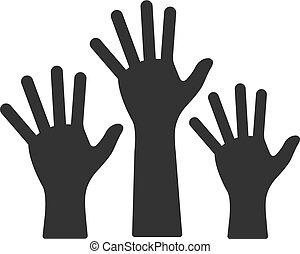 icônes, bw, -, mains