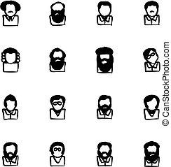 icônes, célèbre, avatar, scientifiques, freehand, remplir