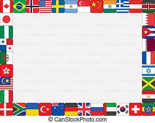 icônes, cadre, mondiale, drapeau