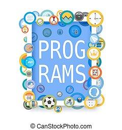 icônes, cadre, programmes, collage., couverture, conception, art., vecteur, illustration