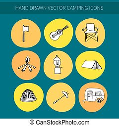 icônes, camping
