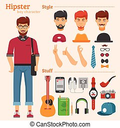 icônes, caractère, décoratif, garçon, ensemble, hipster