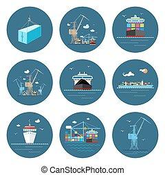 icônes, cargaison, ensemble, transport, fret