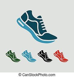 icônes, chaussure, vecteur