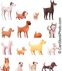 icônes, chien, collection, retro, dessin animé, espèces