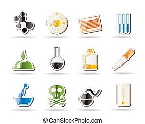 icônes, chimie, industrie