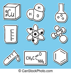 icônes, chimie, -stickers, impression, illustration