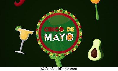 icônes, circulaire, cinco, cadre, célébration, de, mexicain, mayonnaise