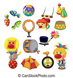 icônes, cirque, collection, exposition, dessin animé, heureux