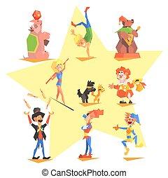 icônes, cirque, collection, foire, vecteur, amusement, carnaval