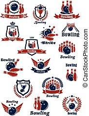 icônes, club, tournoi, symboles, bowling, ou