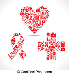 icônes, coeur, faire, aides, monde médical, croix