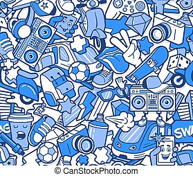 icônes, collage, modèle, seamless, graffiti, ligne