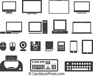 icônes, collection., isolé, équipement, blanc, électronique