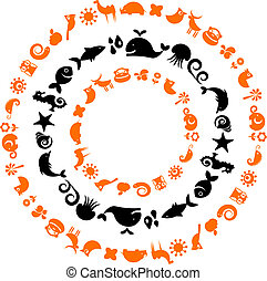 icônes, -, collection, planète, écologique, animal