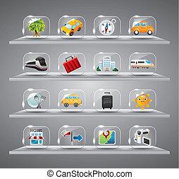 icônes, collection, voyage, transparent, mignon, verre, bouton