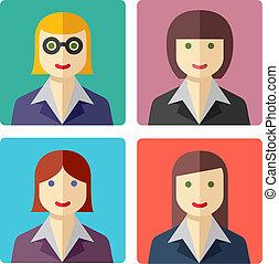 icônes, coloré, femme affaires, avatar, plat
