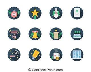 icônes, coloré, hiver, vecteur, plat, rond