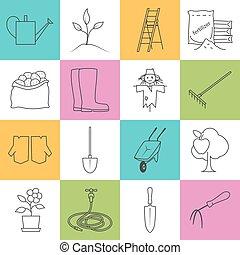 icônes, coloré, jardiner matériel, ligne