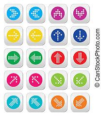 icônes, coloré, pointillé, flèches, rond