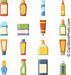 icônes, coloré, produits de beauté, détaillé, paquet, vector., vide, boîte, hautement, plat