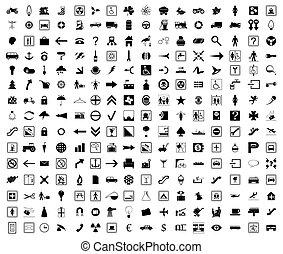 icônes, colour., illustration, vecteur, noir, collection
