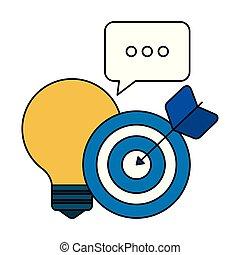 icônes, commercialisation, lumière, média, social, ampoule