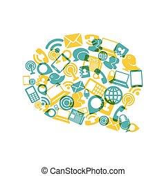 icônes, communication, social, forme, média, bulle