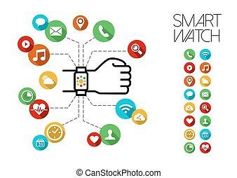 icônes concept, app, montre, main, conception, intelligent