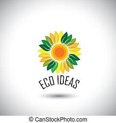 icônes concept, eco, feuilles, -, vecteur, vert, floral, cercle