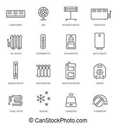 icônes, conditionnement, set., ventilation, chauffage