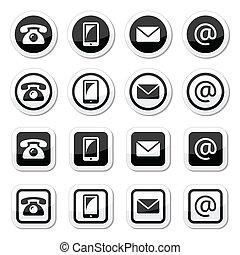icônes, contact, cercle, carrée