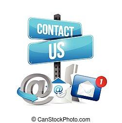 icônes, contact, communication, nous