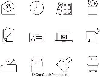 icônes, -, contour, bureau, plus