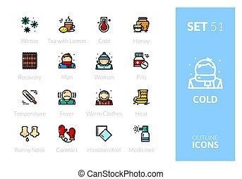 icônes, contour, couleur, ensemble