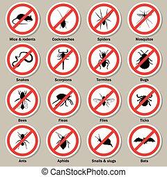 icônes, contrôle, casse-pieds, set., insecte