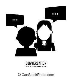 icônes, conversation, conception