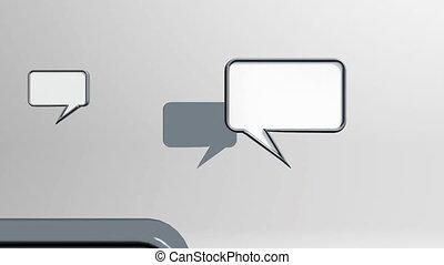 icônes, conversation, gris, beaucoup