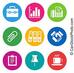 icônes, couleur, business