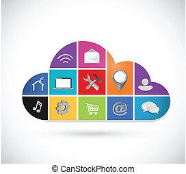 icônes, couleur, calculer, illustration, conception, nuage
