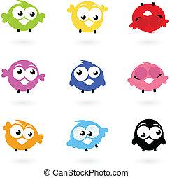 icônes, couleur, gazouillement, mignon, oiseaux, isolé, whi, vecteur, collection
