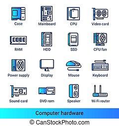 icônes, couleur ordinateur, côté, gradient, matériel, ligne