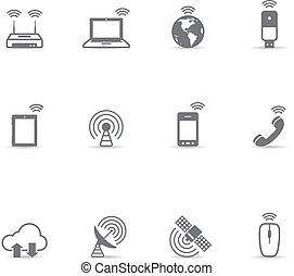 icônes, couleur, -, sans fil, unique, mondiale